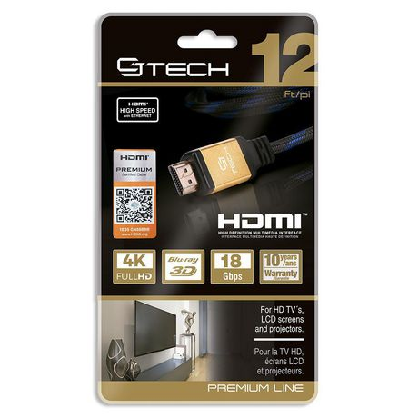 CJ Tech Premium 4K 3D HDMI 2.0 Cable with Ethernet - 12ft - image 2 of 3