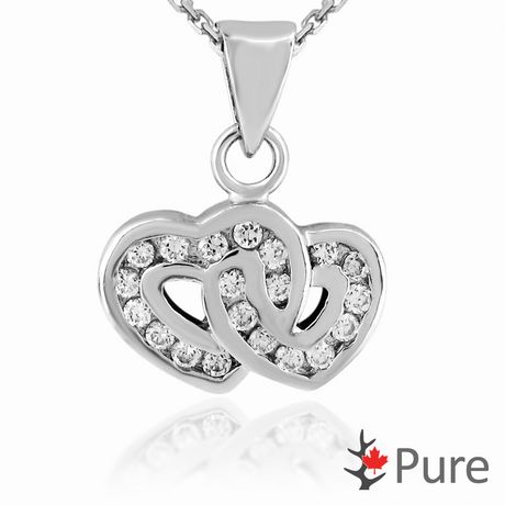 """Pure CZ Double Heart Pendant, in Sterling Silver with 18"""" Chain - image 1 of 2"""