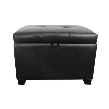 Corliving Antonio Black Bonded Leather Storage Ottoman