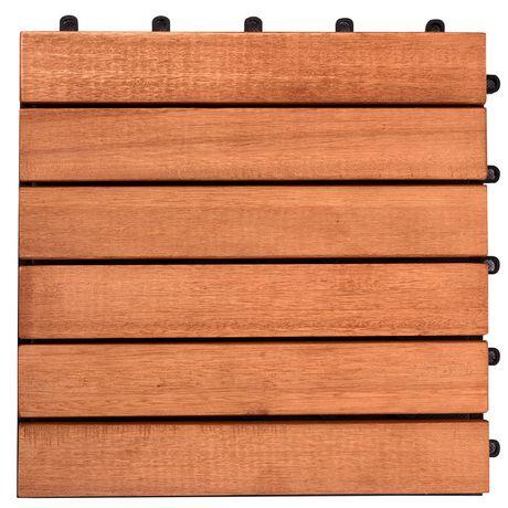 Outdoor Patio 6-Slat Eucalyptus Interlocking Deck Tile (Set of 10 Tiles) - image 1 of 7