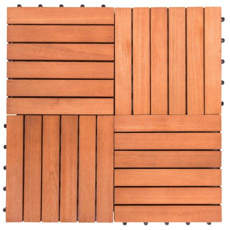 Outdoor Patio 6-Slat Eucalyptus Interlocking Deck Tile (Set of 10 Tiles) - image 2 of 7