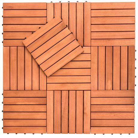 Outdoor Patio 6-Slat Eucalyptus Interlocking Deck Tile (Set of 10 Tiles) - image 3 of 7