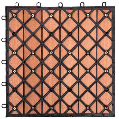 Outdoor Patio 6-Slat Eucalyptus Interlocking Deck Tile (Set of 10 Tiles) - image 4 of 7