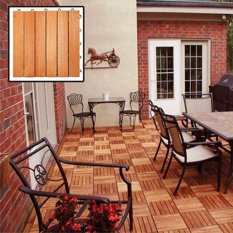 Outdoor Patio 6-Slat Eucalyptus Interlocking Deck Tile (Set of 10 Tiles) - image 6 of 7