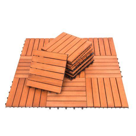 Outdoor Patio 6-Slat Eucalyptus Interlocking Deck Tile (Set of 10 Tiles) - image 7 of 7