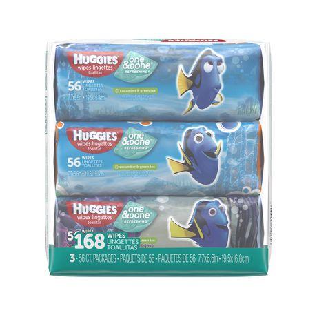 Huggies One Amp Done Refreshing Baby Wipes Soft Pack 3pk