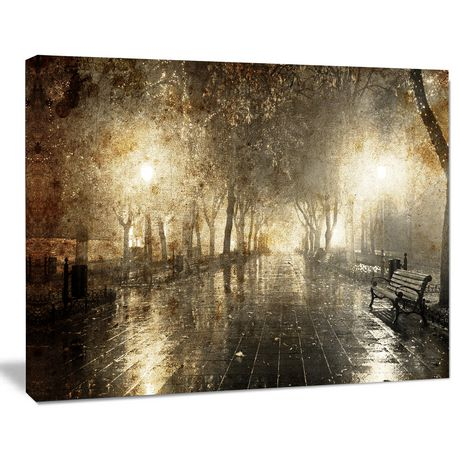 Design Art Night Alley with Lights Photography Landscape Canvas Print - image 1 of 2