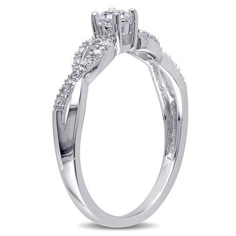 Bague de fiançailles Miabella avec 0.25 Carat de saphir blanc synthétique et 0.10 Carat d'accents de diamant en argent sterling - image 2 de 5