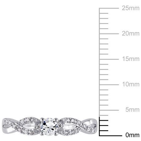 Bague de fiançailles Miabella avec 0.25 Carat de saphir blanc synthétique et 0.10 Carat d'accents de diamant en argent sterling - image 3 de 5