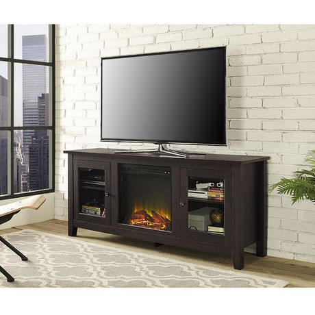 console pour m dia de t l vision en bois de walker edison en espresso avec chemin e walmart canada. Black Bedroom Furniture Sets. Home Design Ideas