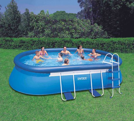 Intex development co ltd intex 18ft x 10ft x 42in oval - Largest above ground swimming pool ...