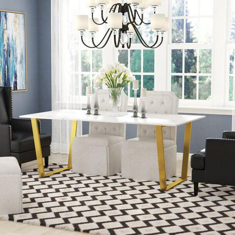 Rectangular Marble Dining Table With Gold Legs Walmart Canada