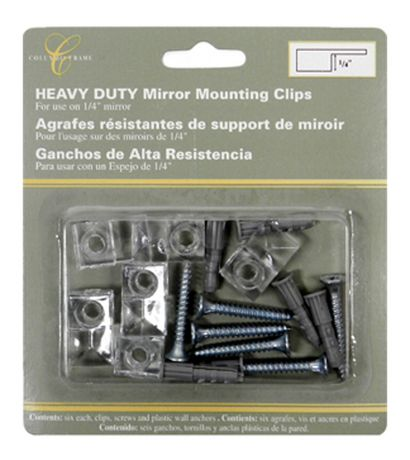 Mainstays Heavy Duty Mirror Mounting, Clear Plastic Mirror Clips