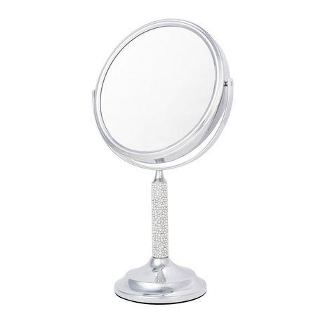 Miroir de coiffeuse chrom danielle pied de cristal et for Miroir walmart