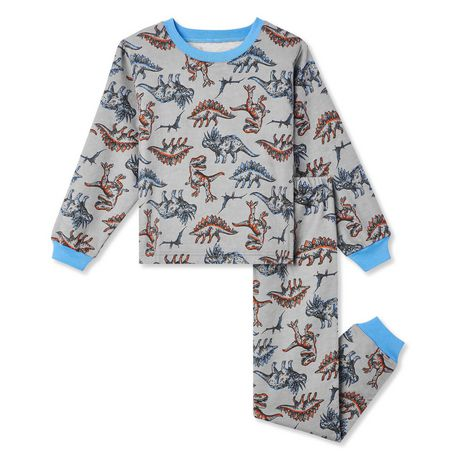 Two piece boys grey and blue pyjama set with dinosaurs printed on them