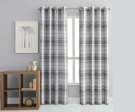 hometrends Reily Plaid Grommet Window Curtain Panels - image 1 of 1