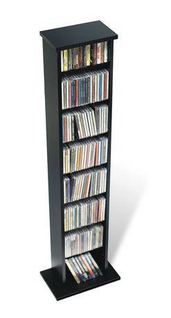 Slim Multimedia Storage Tower Black