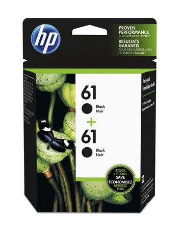 HP 61 Black Original Ink Cartridges, 2 pack (CZ073FN ...