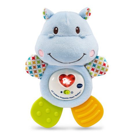 Light blue stuffed hippo with green and yellow plastic feet by VTech