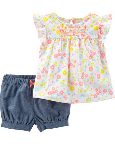 570fa7eefa Child of Mine made by Carter s Newborn Girls 2pc set - floral short - image  1 ...