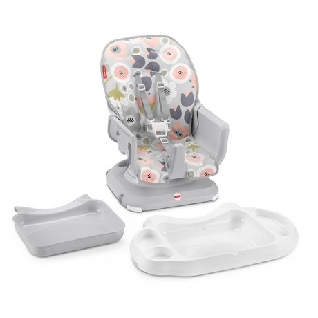 Fisher-Price SpaceSaver High Chair Girls Grey Blooming Flowers - image 2 of 9