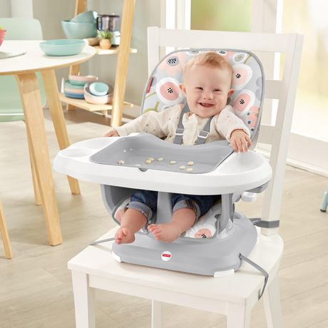 Fisher-Price SpaceSaver High Chair Girls Grey Blooming Flowers - image 3 of 9