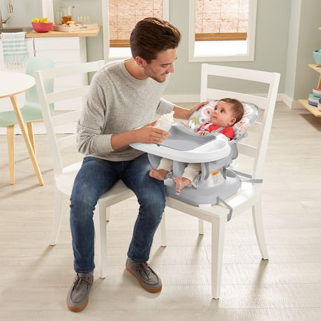 Fisher-Price SpaceSaver High Chair Girls Grey Blooming Flowers - image 4 of 9