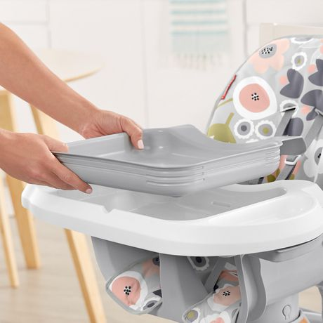 Fisher-Price SpaceSaver High Chair Girls Grey Blooming Flowers - image 5 of 9
