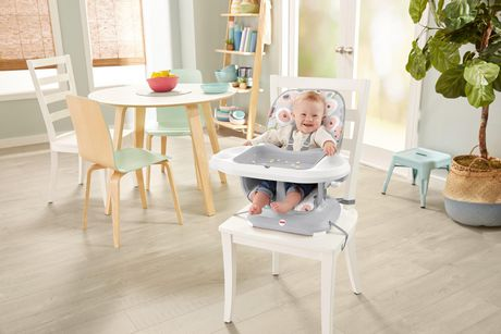 Fisher-Price SpaceSaver High Chair Girls Grey Blooming Flowers - image 8 of 9