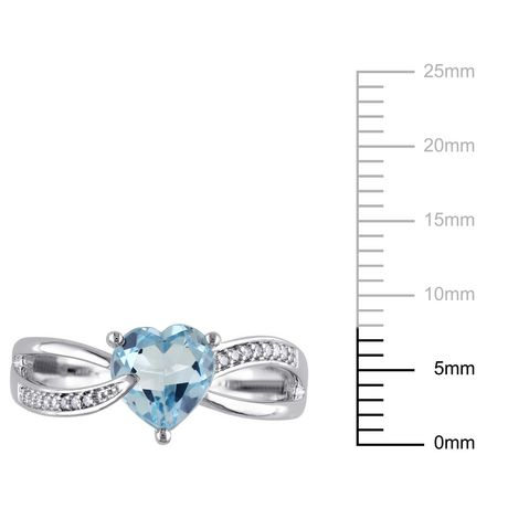 Tangelo 1.33 Carat T.G.W. Blue Topaz and Diamond-Accent Sterling Silver Cross-Over Heart Ring - image 3 of 4