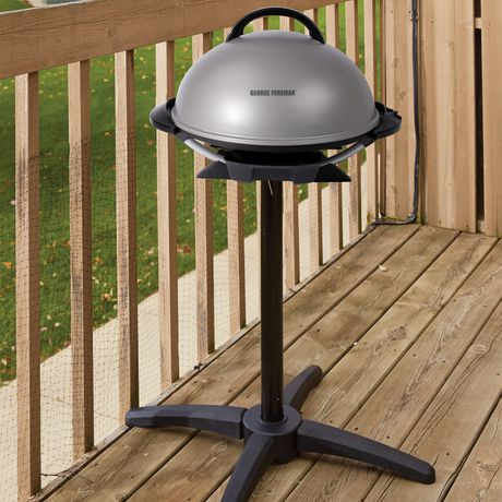 George Foreman Indoor and Outdoor Electric Grill with Stand and Thermostat, Grey - image 2 of 8