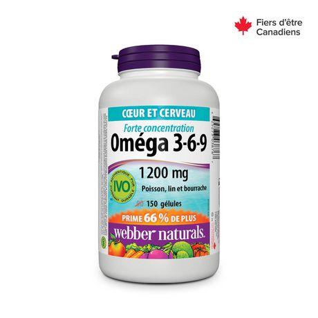 Webber Naturals® Omega 3-6-9 High Potency Fish, Flax & Borage, 1200 mg - image 2 of 4