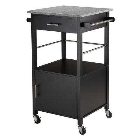 Winsome Davenport Kitchen Cart With Granite Top In Black