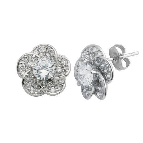 "PAJ ""Bride to Be"" Sterling Silver Cubic Zirconia Flower Stud Earrings - image 1 of 1"