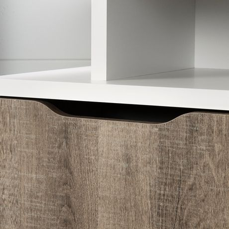 South Shore Reflekt Corner TV Stand, Pure White and Weathered Oak - image 3 of 8