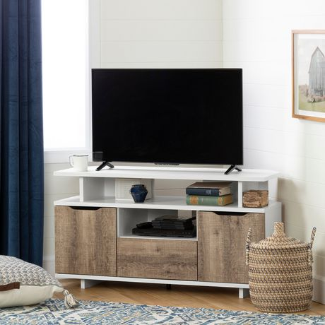 South Shore Reflekt Corner TV Stand, Pure White and Weathered Oak - image 1 of 8
