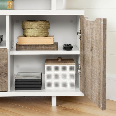 South Shore Reflekt Corner TV Stand, Pure White and Weathered Oak - image 7 of 8