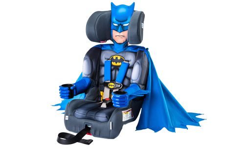 Black combination booster car seat with Batman design, made by KidsEmbrace