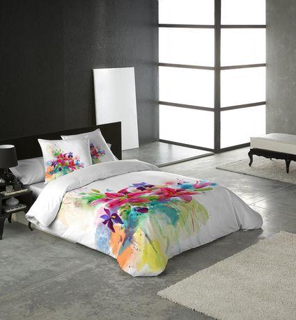 Ens housse de couette lilies de gouchee design pour grand for Housse de couette grand lit