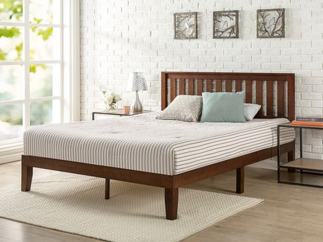 factory price 2ca3b 4febf Zinus 12 Inch Deluxe Wood Platform Bed with Headboard / Wood Slat Support /  Box Spring Not Required / Easy Assembly, Expresso