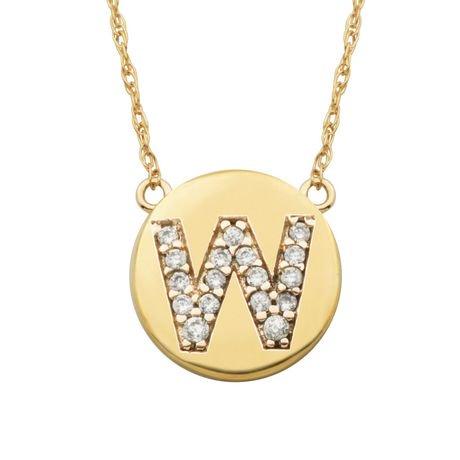 Paj personalized cz initial 10kt gold disc pendant necklace 18 paj personalized cz initial 10kt gold disc pendant necklace 18 walmart canada aloadofball Images