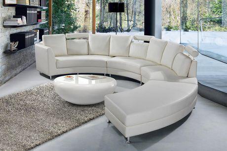 Velago Rossini Modern Genuine Leather, Round Sectional Leather Sofa