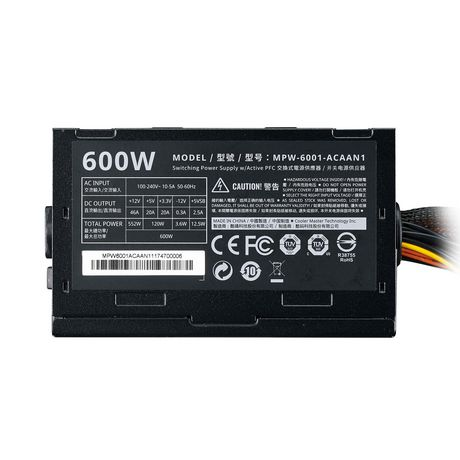 Cooler Master ATX Power Supply with quiet 120mm Fan - Elite V3 600 - image 5 of 9
