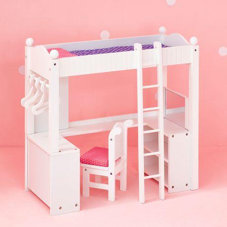 lit superpos et le bureau dortoire double olivia 39 s little world de la poup e princesse de 18. Black Bedroom Furniture Sets. Home Design Ideas