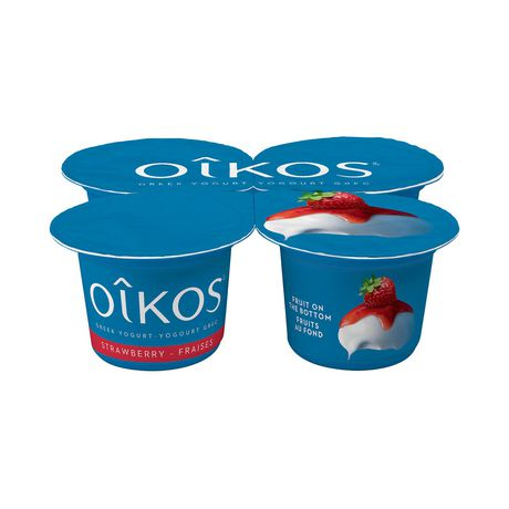OIKOS Greek Yogurt, Strawberry Flavour, 2% M.F., 100g (Pack of 4) - image 1 of 6