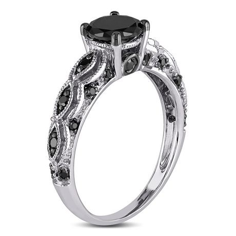 handmade carat style solitaire certified engagement black ring rings diamond vintage gold