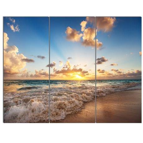 tableau sur toile imprim e design art paysage bord de mer lever du soleil la plage des. Black Bedroom Furniture Sets. Home Design Ideas
