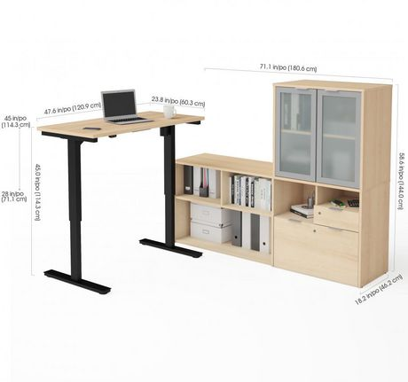 Bestar i3 plus Height Adjustable L-Desk with Frosted Glass Door Hutch - image 3 of 3