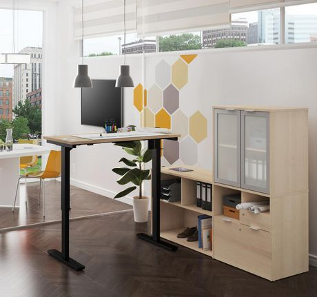 Bestar i3 plus Height Adjustable L-Desk with Frosted Glass Door Hutch - image 2 of 3