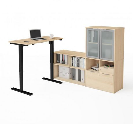 Bestar i3 plus Height Adjustable L-Desk with Frosted Glass Door Hutch - image 1 of 3